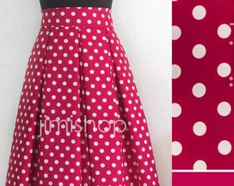 Cherry skirt, navy blue skirt, polka dot skirt, knee length skirt, maxi skirt, designer skirt, made to order