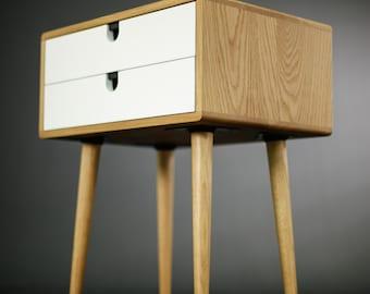Oak wood bedside table, nightstand , Mid Century Modern, Retro Scandinavian, 2 drawers