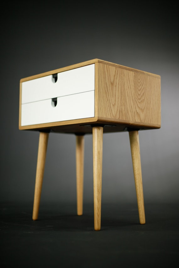 Oak Wood White Bedside Table, Nightstand , Mid Century Modern, Retro  Scandinavian, 2 Drawers