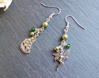 Green Swarovski pearl and crystal Peter Pan charm earrings, sterling silver, Peter Pan earrings, surgical steel, mismatched earrings