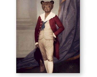 "Bear Art Print Animal Art Nursery Art Animals in Clothes Children's Art Fine Art (3 Sizes Available) ""Prince Horace Von Buttercup"""