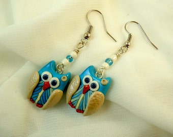 Blue beige feather owl earrings, Handmade polymer clay fimo little owl modern jewelry, Cute forest creature kawaii, Bird wing accessories
