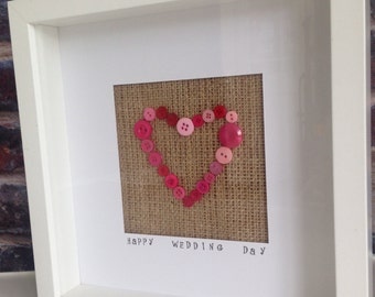 Homemade personalised button heart frame: Wedding/ engagement/ Anniversary gift keepsake