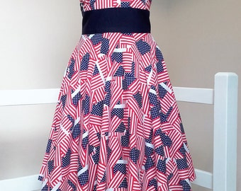 American Woman - Handsewn/Handmade USA Flag Print Full Circle skirt Halterneck Dress - Available in custom sizes