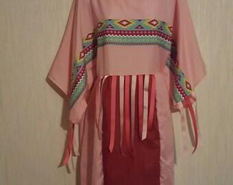 1X, Large or medium Native  American indian ribbon dress and leggings. Pow-wow regalia