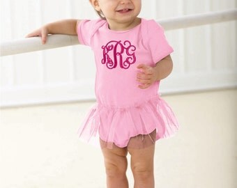 Monogrammed Short Sleeve Tutu Onesie | NB - 24 Mos. | Multiple Colors
