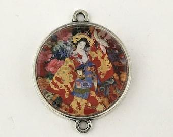 1 geisha connector antique silver,28mm x 35mm#CON 180