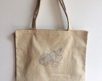 Garlic Tote Bag, Screen Printed Organic Cotton Reusable Bag