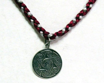 OOAK Sterling Silver Celtic Knot Pendant on a Silver and Wine Braided Satin Necklace 02
