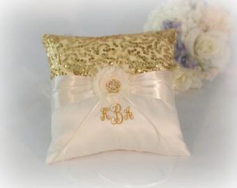 Ring Bearer Pillow, Gold and Ivory Ring Bearer Pillow, Monogrammed Ring Bearer Pillow, Personalized Ring Bearer Pillow