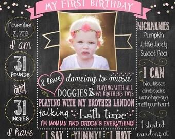 Confetti First Birthday Chalkboard Poster -DIGITAL FILE