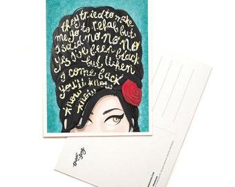 Rehab Amy Winehouse Music Postcard, Typography Song Lyrics Art, Amy Winehouse Portrait, Music Art Print, Music Illustration, Fan Art Card