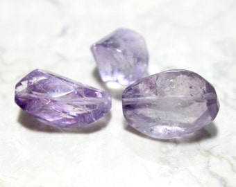 Genuine Natural Faceted Amethyst Large Nugget Stones 15-22mm 3pcs