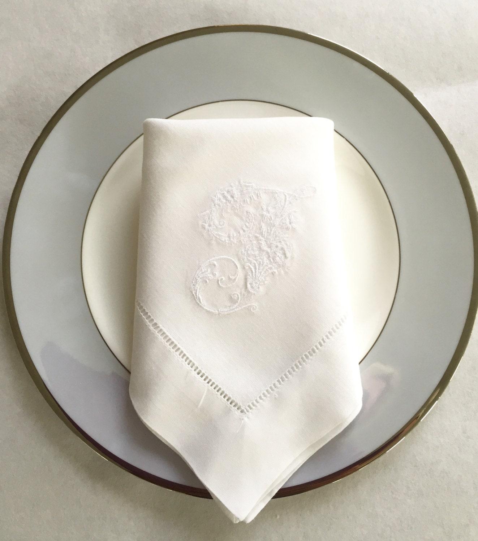 Embroidered linen napkins monogrammed victorian letter fine