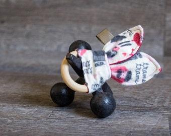 LE TEETHE - French Dog Bunny Ear Wooden Teething Ring