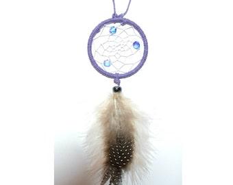 Car Accessory Dream Catcher, Guinea Feathers, Dream Catcher Wall Hang Purple, Wall Decoration, Hemp dream catcher