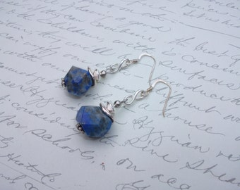 Blue lapis lazuli gemstone earrings