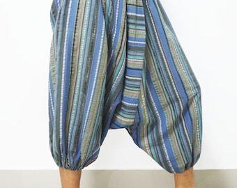 Blue gray stripes cotton capris harem pants baggy yoga capris Aladdin pants baggy yoga pants tribal harem pants festival pants capri pants