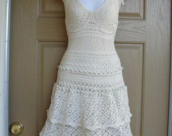 Crocheted Halter Dress Sleeveless Labeled XS Extra Small Moda International