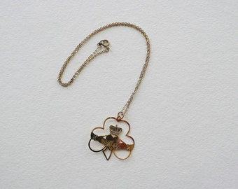 Vintage Gold Tone Claddagh And Clover Necklace | 17 5/8 inch