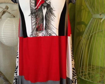 Dress-tunic T 40-42 patchwork pattern dancer, shades of red, grey, black and white