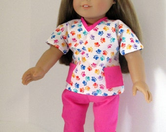 """18 Inch Doll Outfit, Pink Paw Print Scrubs, Top and Pants, mask American made to fit 18"""" girl dolls"""