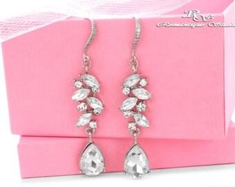 Wedding earrings silver bridal earrings vintage wedding jewelry rhinestone drop earrings bridesmaid earrings bridesmaid gift 1420