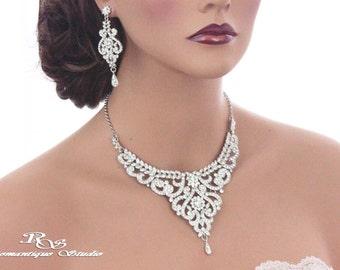 Statement bridal necklace set, Wedding jewelry set, Crystal necklace set, Bridal rhinestone jewelry set, Wedding set, Bridal set S0150