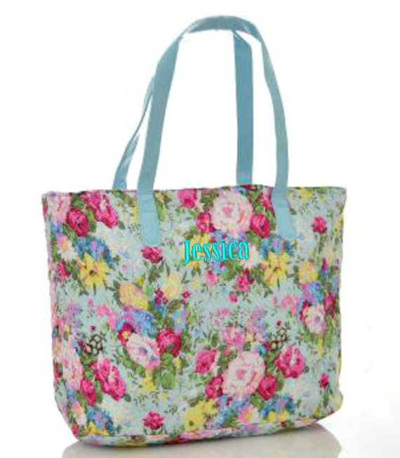 Monogrammed Quilted Tote Bag Light Blue Floral Personalized