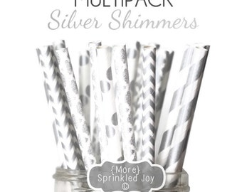 SILVER SHIMMERS Paper Straws, Multipack, Straws, Silver, Chevron, Dots, Stripes, 25 Straws, 5 Designs, Winter, Party, Wedding, Birthday