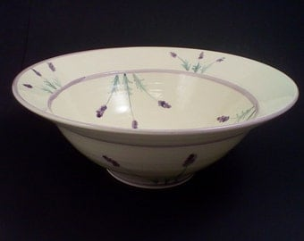 Pottery bowl with hand painted french lavender bowl ceramic bowl pottery ceramic serving bowl deep pottery bowl