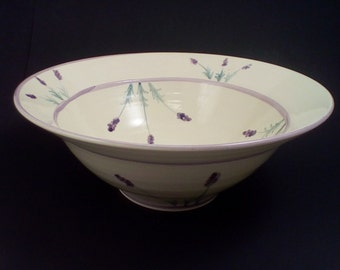 Pottery bowl with hand painted french lavender serving bowl ceramic deep serving bowl