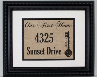 Housewarming Gift, Personalized Our First Home on Burlap - Burlap Sign, Burlap Print