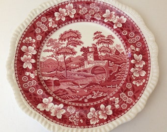 Vintage 1920's Copeland Spode Tower Pink Red  Dinner Plate-Great Condition