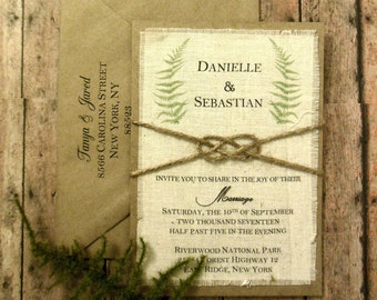 DIY Rustic Spring Wedding Invitation Kit Burlap Fabric