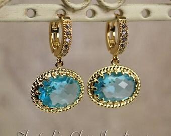 Kate Middleton - Inspired Blue Crystal Earrings