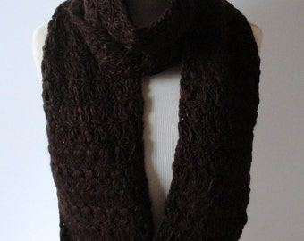 Chocolate Brown Handmade Scarf, Warm Scarf, Winter Scarf, Crochet Scarf, Holiday Gift