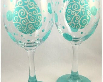 Glittery Teal Swirly Egg Hand Painted Easter Wine Glass