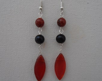 Black Red Crystal Glass Earring.