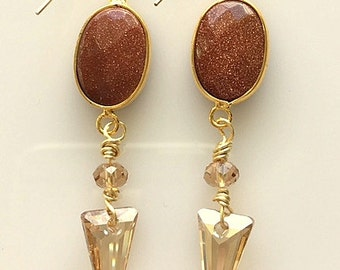 Crystal Spike Earrings - Sunstone and Swarovski Crystal