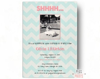 Photo Surprise Birthday Party Invitations - Printable Birthday Surprise Invitation - Surprise Party Invitation for Women - Photo Birthday