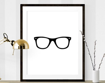 Black Hipster Glasses Art, Hipster Glasses Print, Graphic Art Print, Printable Art, Wall Prints, Hipster Home Decor, Glasses Art Print