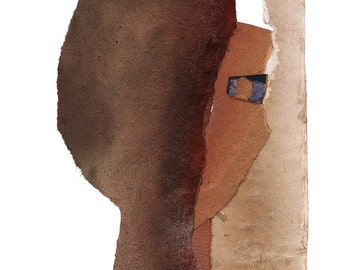 Neutral Modern Art Collage, Abstract Fine Art Print