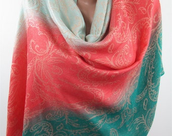 Pashmina Scarf Coral Green Wedding Shawl Scarf Wrap Infinity Scarf Ombre Scarf Christmas Gifts For Her Mothers Day From Daughter Son Husband