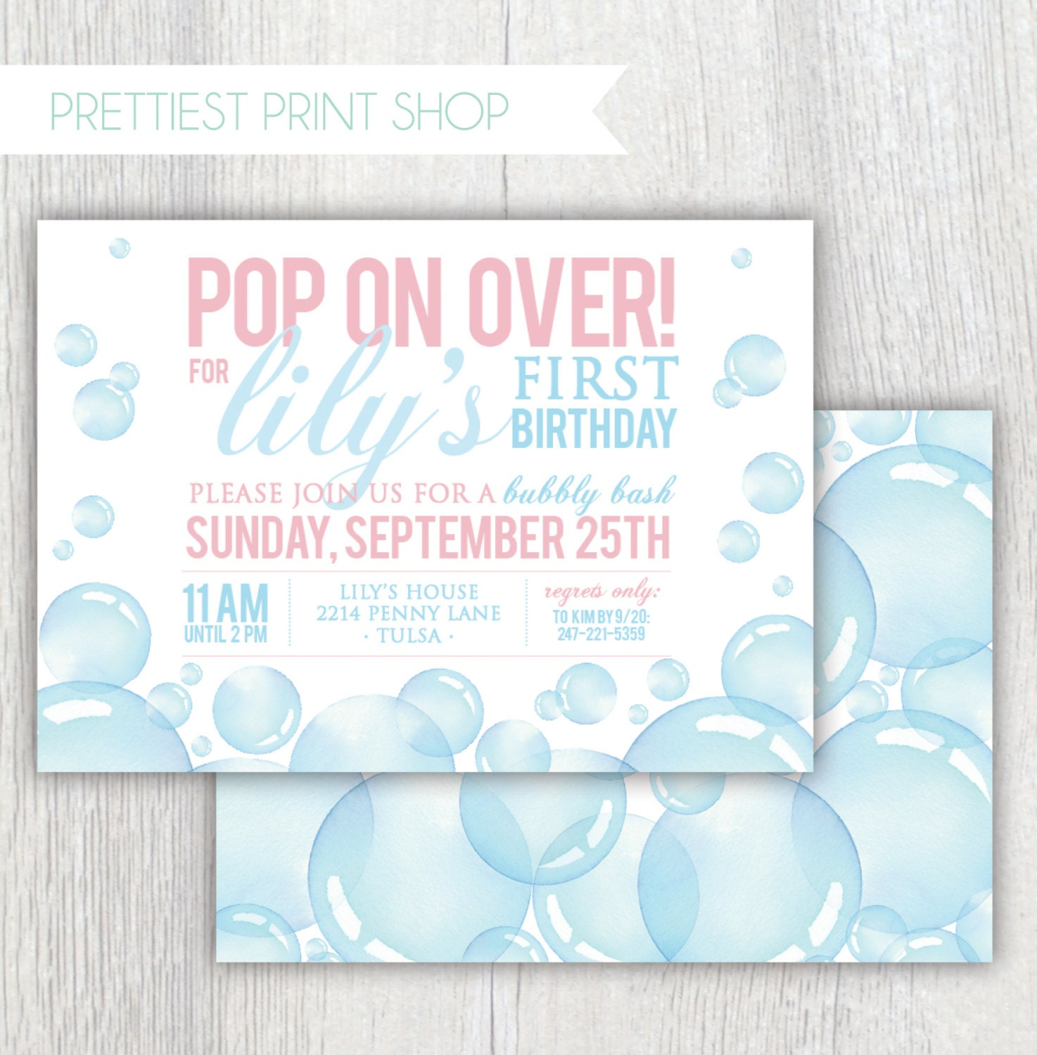 Printable bubbles birthday invitation - Bubbly Bash - Pop on over ...