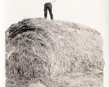 Vintage Snapshot Photo ~ the massive Hay Bale ~ antique farm threshing
