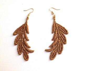 "Delicate long earrings ""Kink"" with bronze top"
