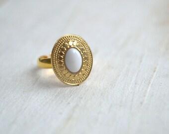 White Gold boho hippie MIDI ring