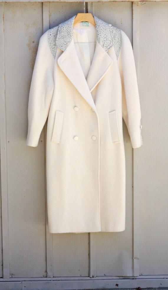 White Wool Coat Long White Coat Double by PendulumVintage