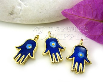 3 Pc Mini Gold Hamsa Charms, Pendants, Enamel Evil Eye Hamsa Hand, 22K Gold Plated Hand of Fatima Pendants, Turkish Jewelry Supplies